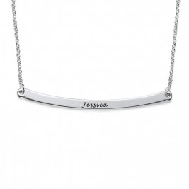 Horizontal Silver Bar Necklace
