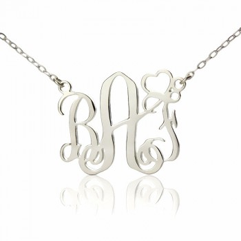 Personalised Initial Monogram Necklace 18ct White Gold Plated With Heart