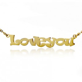 Cute Cartoon Ravie Font 18ct Gold Plated Name Necklace