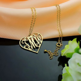 18ct Gold Plated Initial Monogram Personalised Heart Necklace