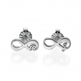 Infinity Stud Earrings with Initial
