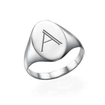Initial Signet Ring in Sterling Silver