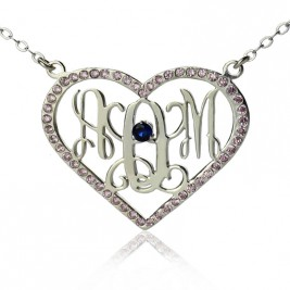 Sterling Silver Heart Birthstone Monogram Necklace