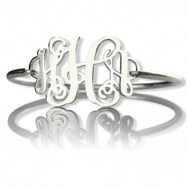 Personalised Monogram Initial Bracelet 1.25 Inch Sterling Silver
