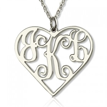 Sterling Silver Cut Out Heart Monogram Necklace