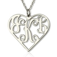 Sterling Silver Initial Monogram Personalised Heart Necklace