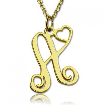 Single Letter Monogram With Heart Necklace In 18ct Gold Plated