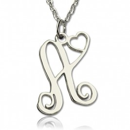 One Initial Monogram With Heart Necklace Silver