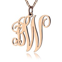 Personalised Vine Font 2 Initial Monogram Necklace 18ct Rose Gold Plated