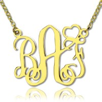 Personalised Initial Monogram Necklace With Heart 18ct Gold Plated
