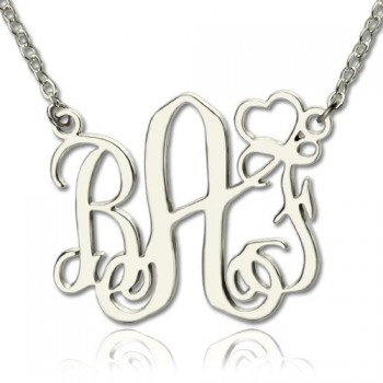 Personalised Initial Monogram Necklace With Heart Srerling Silver
