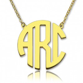 18ct Gold Plated Block Monogram Pendant Necklace