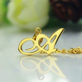 18ct Gold Plated Christina Applegate Initial Necklace