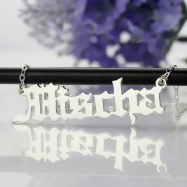 Old English Name Necklace Sterling Silver