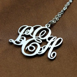 Personalised Vine Font Initial Monogram Necklace Sterling Silver