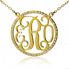 18ct Gold Plated Circle Birthstone Monogram Necklace