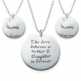 Mother Daughter Gift - Set of Three Engraved Necklaces