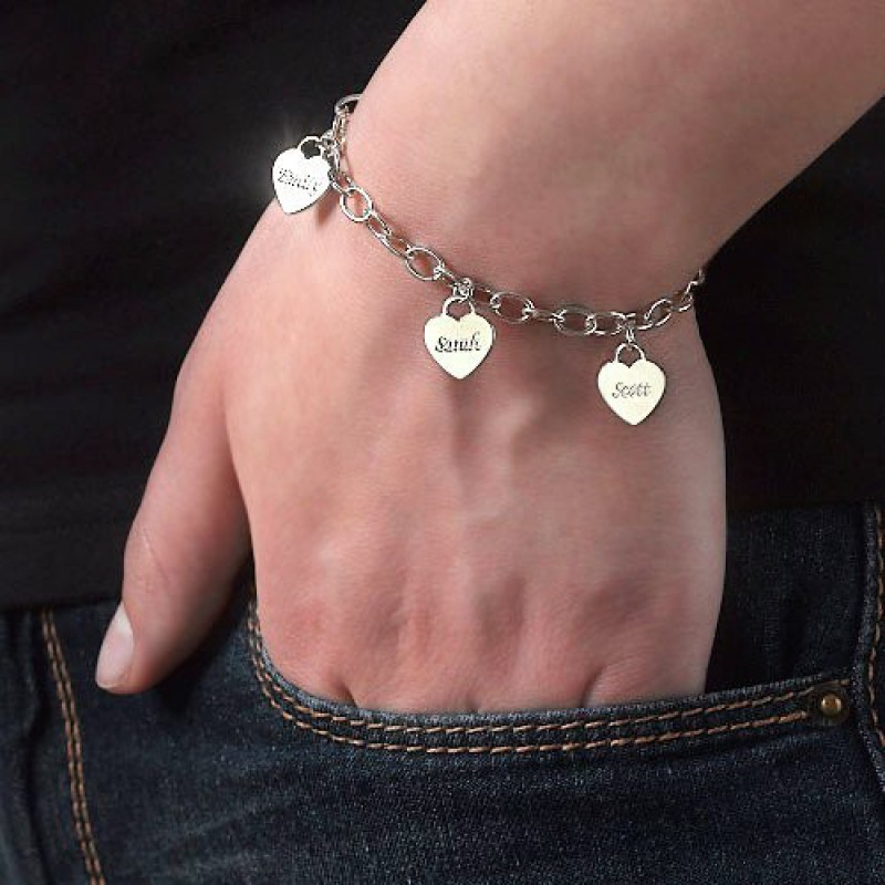 a203b6f555f9c Mum Charm Bracelet/Anklet with Personalised Hearts