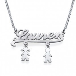 Mummy Name Necklace with Kids Charms