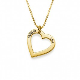 18k Gold Plated 0.925 Silver Engraved Necklace - Heart