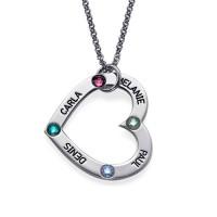 Mum's Birthstone Heart Necklace