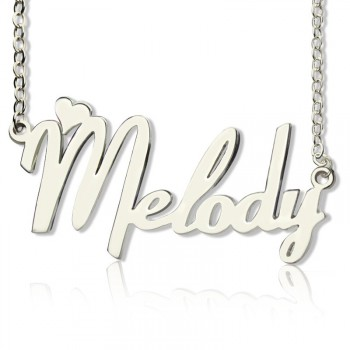 Personalised 18ct White Gold Plated Fiolex Girls Fonts Heart Name Necklace
