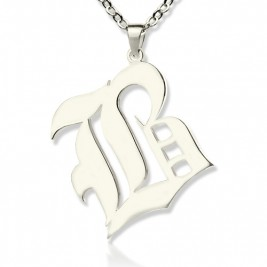 Personalised Initial Letter Charm Old English Sterling Silver