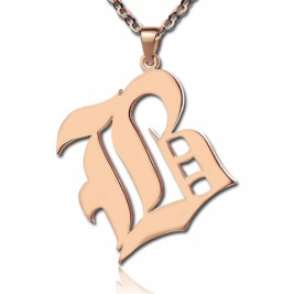 Rose Gold Plated Initial Necklace Old English Style