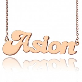 Personalised 18ct Rose Gold Plated BANANA Font Style Name Necklace