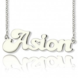 Personalised 18ct Solid White Gold BANANA Font Style Name Necklace