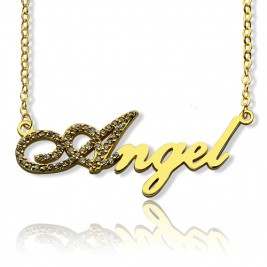 18ct Gold Plated Script Name Necklace-Initial Full Birthstone