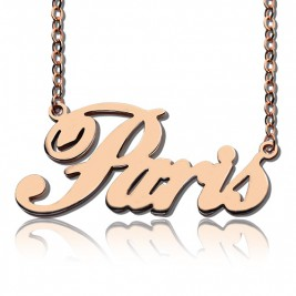 Paris Hilton Style Name Necklace 18ct Solid Rose Gold Plated