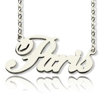 Paris Hilton Style Name Necklace 18ct Solid White Gold Plated