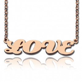 18ct Rose Gold Plated Capital Puff Font Name Necklace