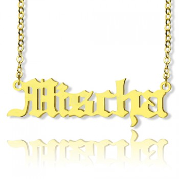 Mischa Barton Old English Font Name Necklace 18ct Gold Plated