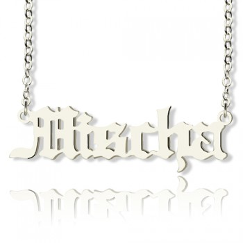 Mischa Barton Style Old English Font Name Necklace 18ct White Gold Plated