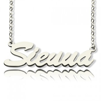 Solid White Gold Sienna Style Name Necklace