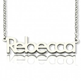 Solid White Gold Rebecca Style Name Necklace