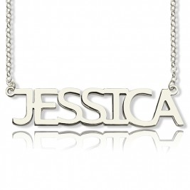 Solid White Gold Plated Jessica Style Name Necklace
