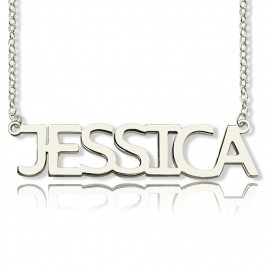 "Block Letter Name Necklace Silver - ""jessica"""