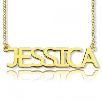 Solid Gold Plated Jessica Style Name Necklace