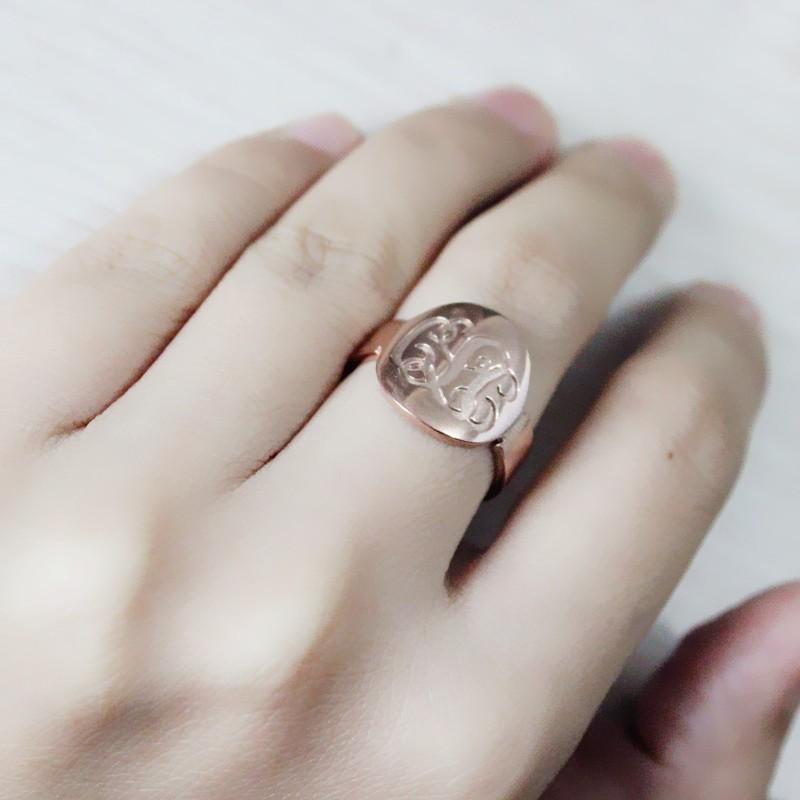 engraved script rose gold monogrammed ring