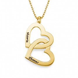 18CT Personalised Gold Plated Heart in Heart Necklace