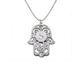 Silver Personalised Initial Hamsa Necklace