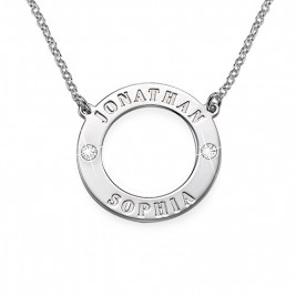 Personalised Silver Karma Necklace with Swarovski