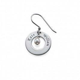 Personalised Earrings with Two Names  Birthstone