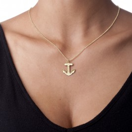 18ct Gold Plated Sterling Silver Anchor Necklace