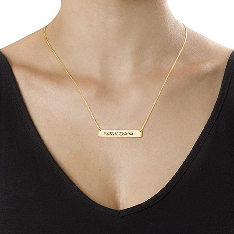 504e2a57529ea 18ct Gold Plated Personalised Nameplate Necklace