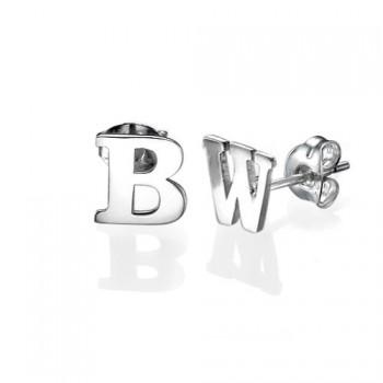 Print Initial Stud Earrings in Silver