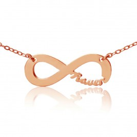 Rose Gold Plated Infinity Necklace Cut Out Name